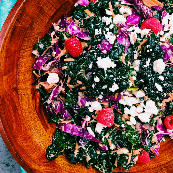 Kale-Hater's Creamy Raspberry Kale Salad