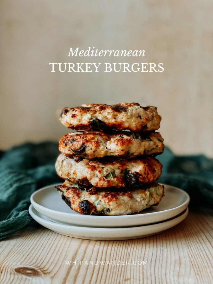 a stack of Mediterranean Turkey Burgers patties resting on two plates