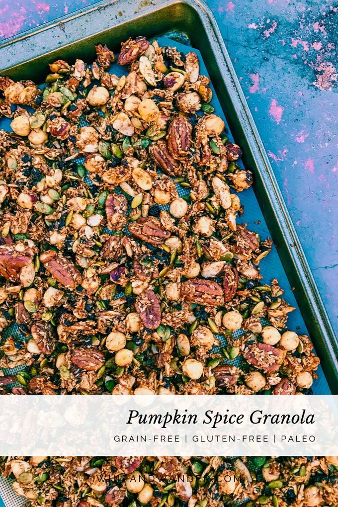 grain-free granola with nuts and seeds and pumpkin on a cookie sheet