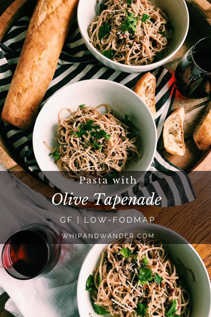 three bowls pasta with olive tapenade in white bowls with wine and a gray text box