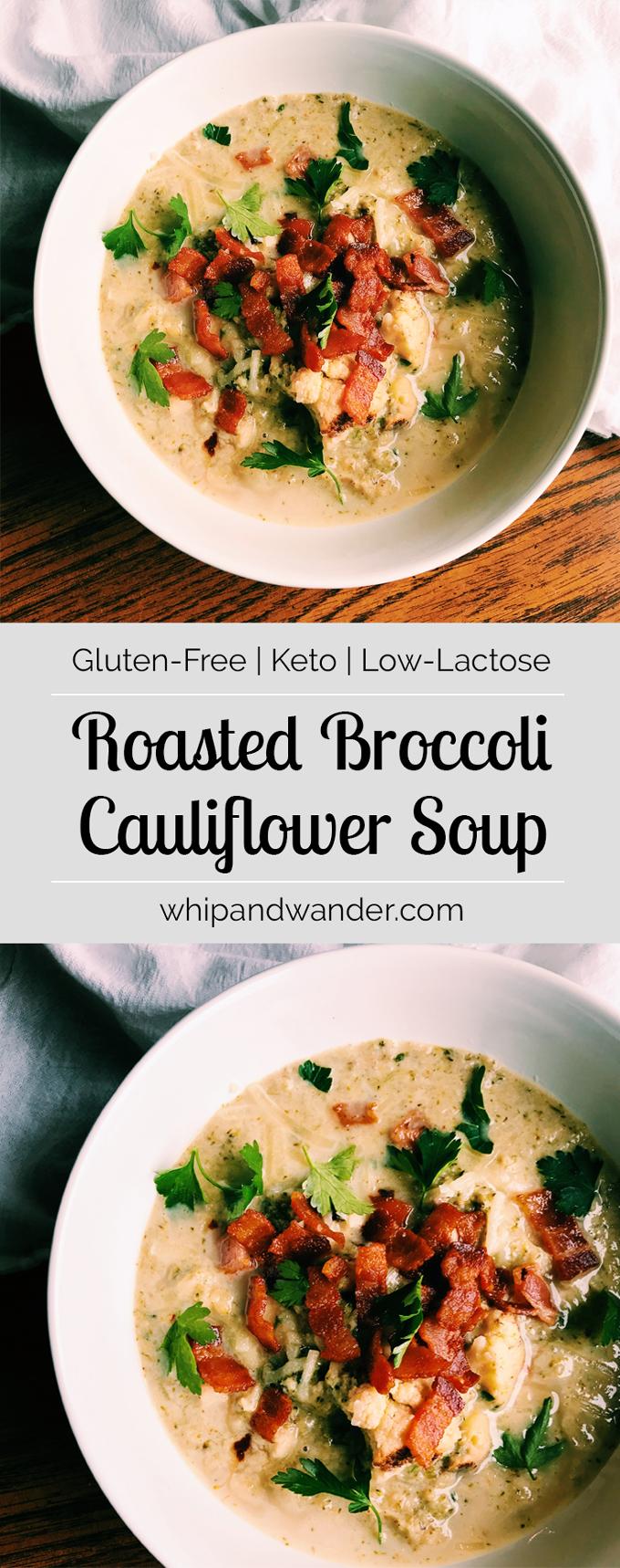 Roasted Broccoli Cauliflower Soup