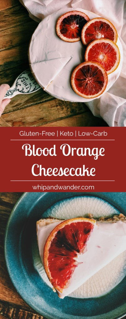 Blood Orange Cheesecake with blood orange slices on a teal plate