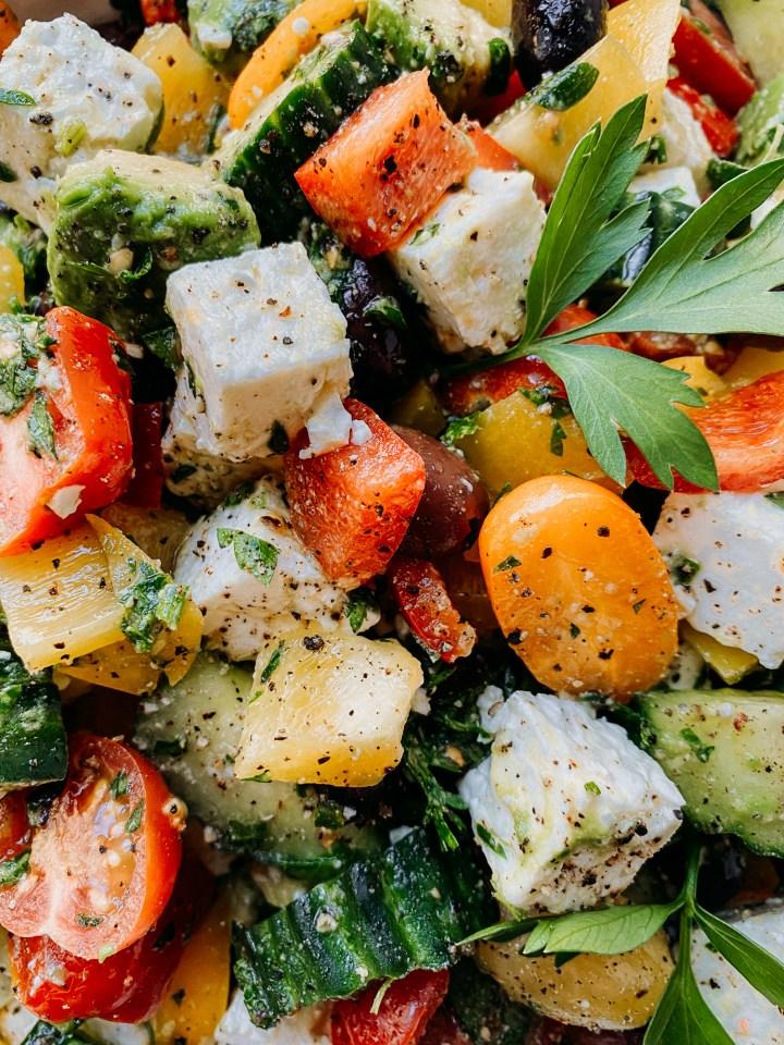 closeup of Crunchy Greek Salad