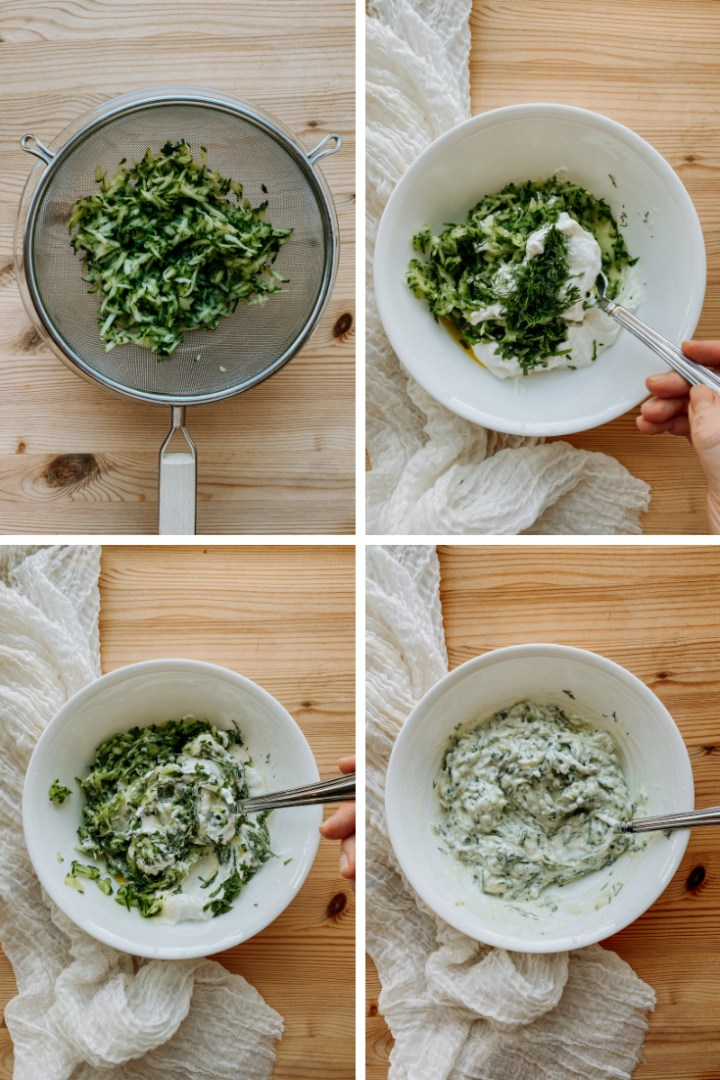 4 process images showing cucumber being disgorged and made into tzatziki sauce