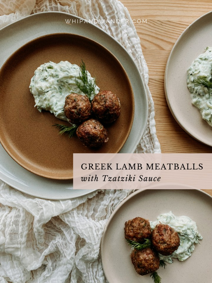 several plates containing meatballs and tzatziki sauce and dill