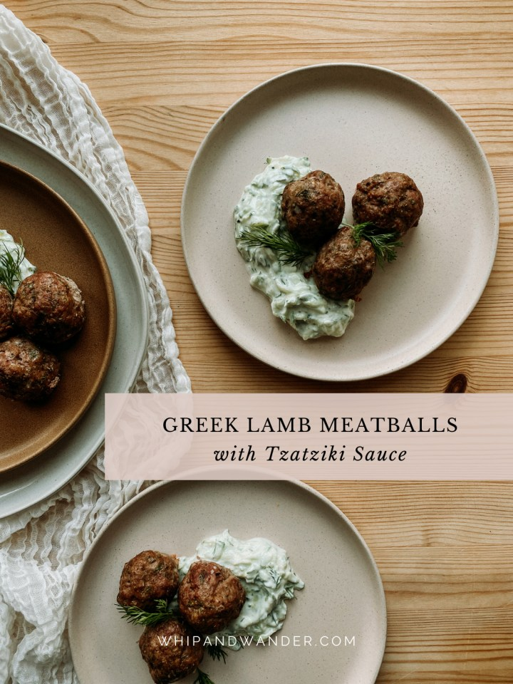 four plates containing piles of greek meatballs on a wooden surface