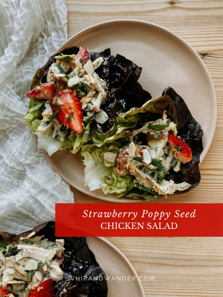 a small brown plate with two lettuce cups filled with Strawberry Poppy Seed Chicken Salad