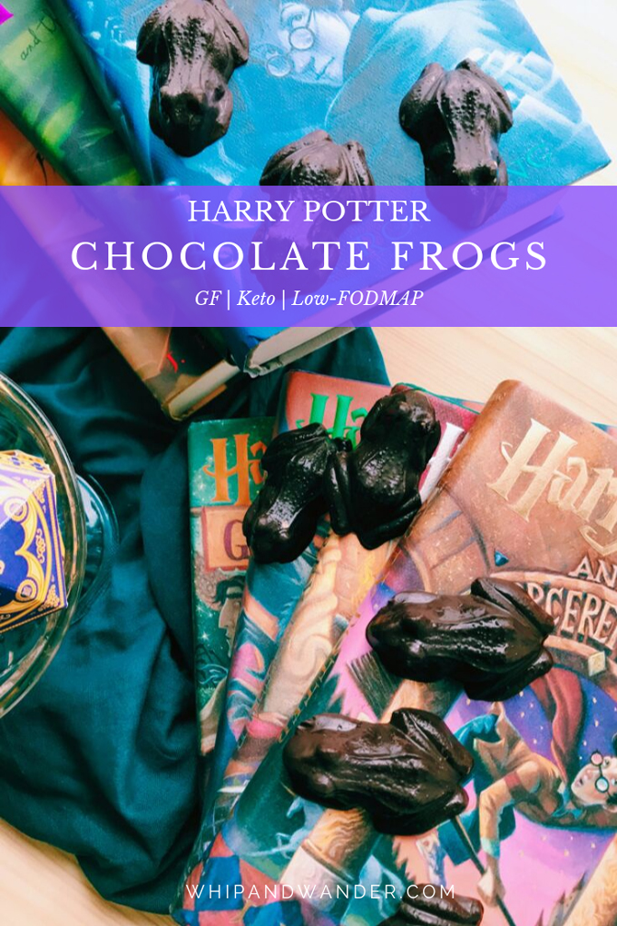 two stacks of harry potter books, dark chocolates int eh shape of frogs