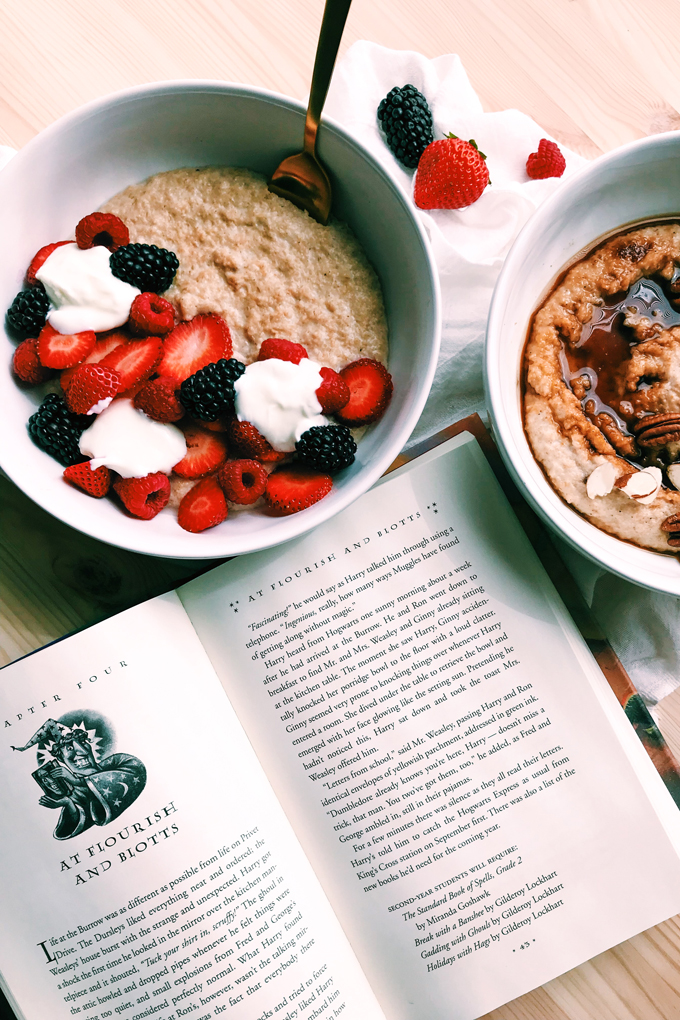 two bowls of porridge next to an open harry potter book