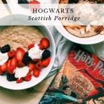 Harry Potter book next to white bowls of oat porridge with fruit and nuts