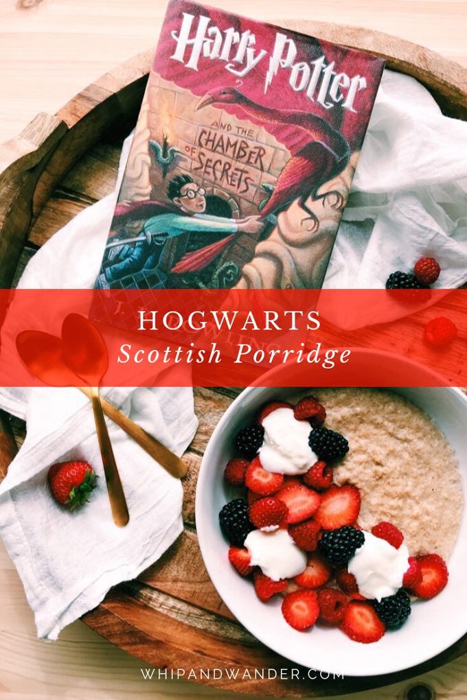 a harry potter book next to a bowl of porridge