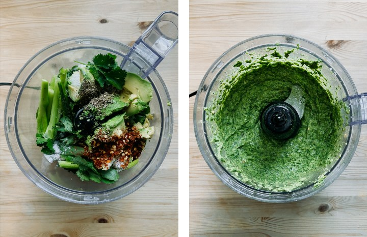 Two food processors showing avocado chimichurri ingredients and the blended green sauce