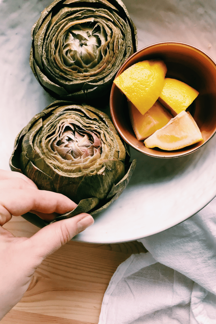 a white bowl with instant pot artichokes and a hand pulling leaves off with lemons int he bowl