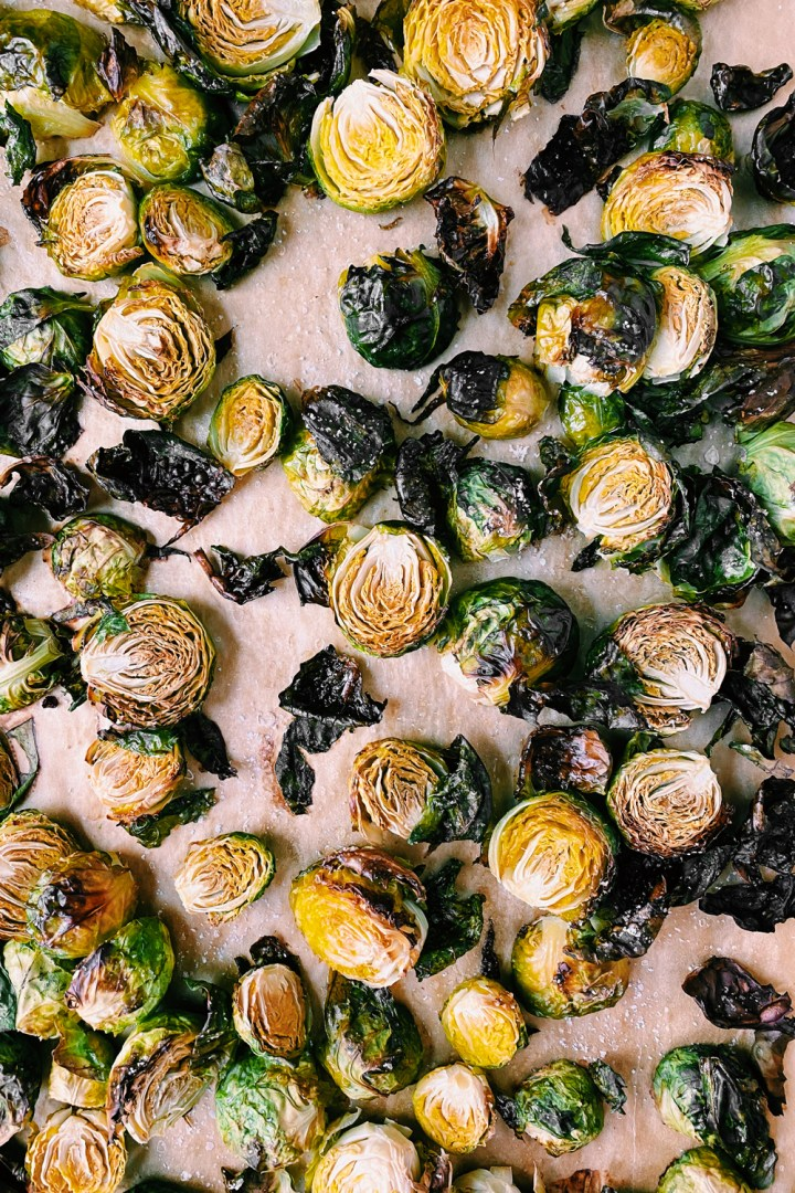roasted brussels sprouts on a brown background
