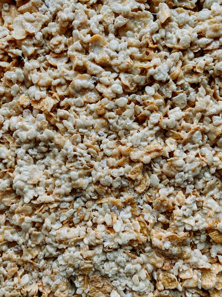detail of cornflakes and rice cripy cereal in Salted Brown Butter Crispy Treats