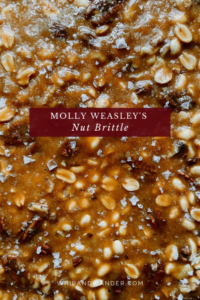a closeup of the nuts and salt in a batch of Molly Weasley's Nut Brittle