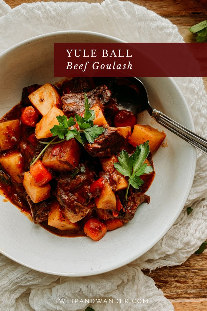Yule Ball Beef Goulash in a white bowl with a spoon resting in the stew