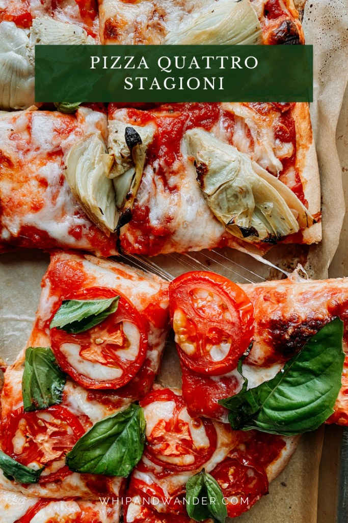 a piece of pizza topped with tomatoes and basil being pulled off of a baking sheet