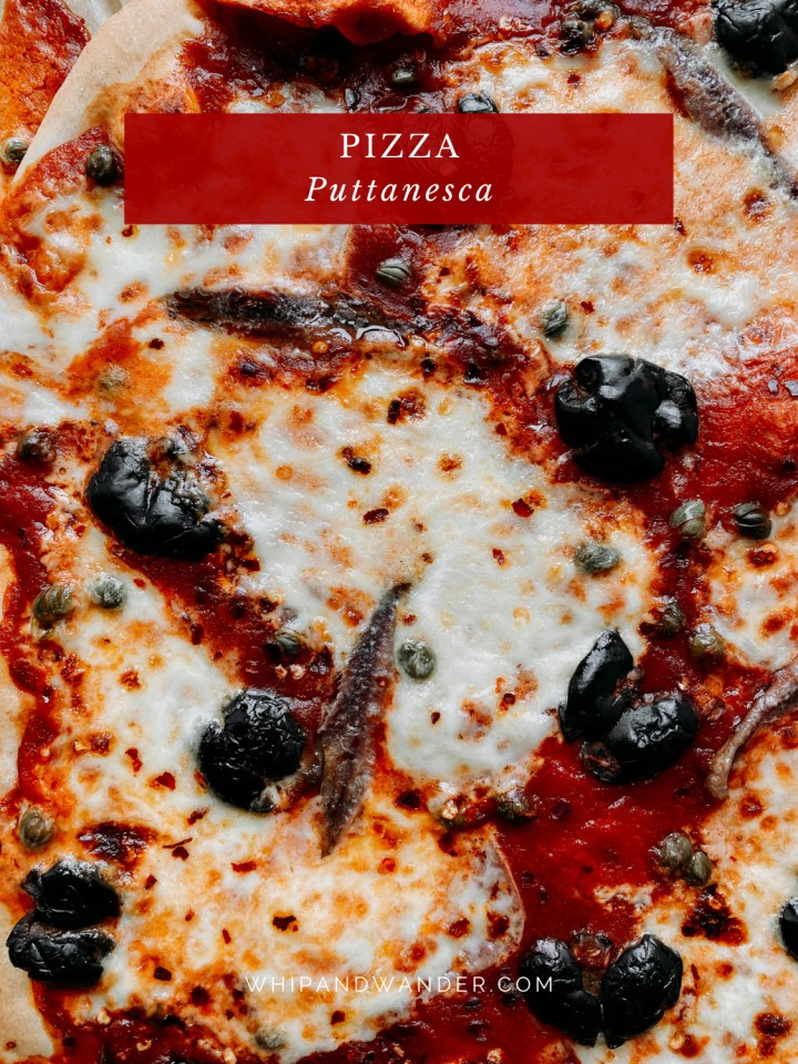 closeup of toppings on a Pizza Puttanesca