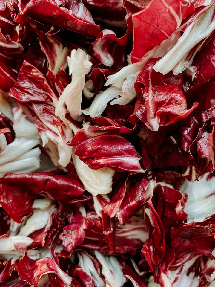 a closeup of radicchio leaves that have been fluffed dry