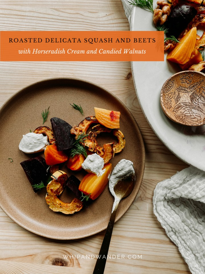 a brown plate with golden and red beets, delicata squash, horseradish cream sauce, candied nuts, and dill