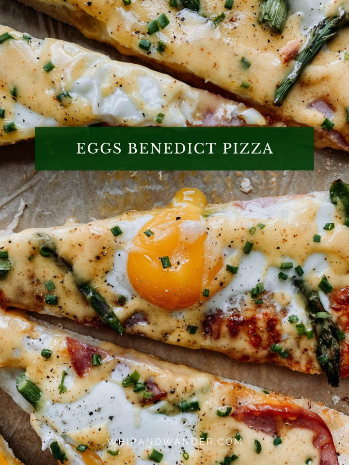 a drippy egg on a pizza slice with asparagus and cheese