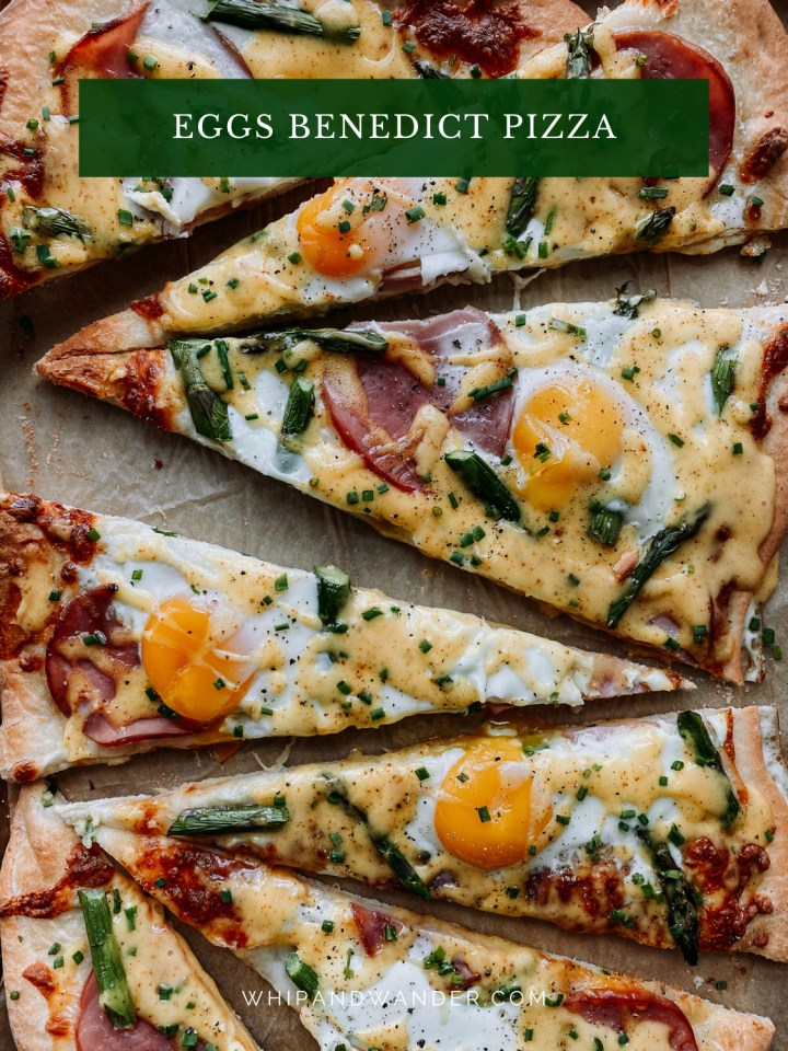a baking sheet pan with slices of Eggs Benedict Pizza