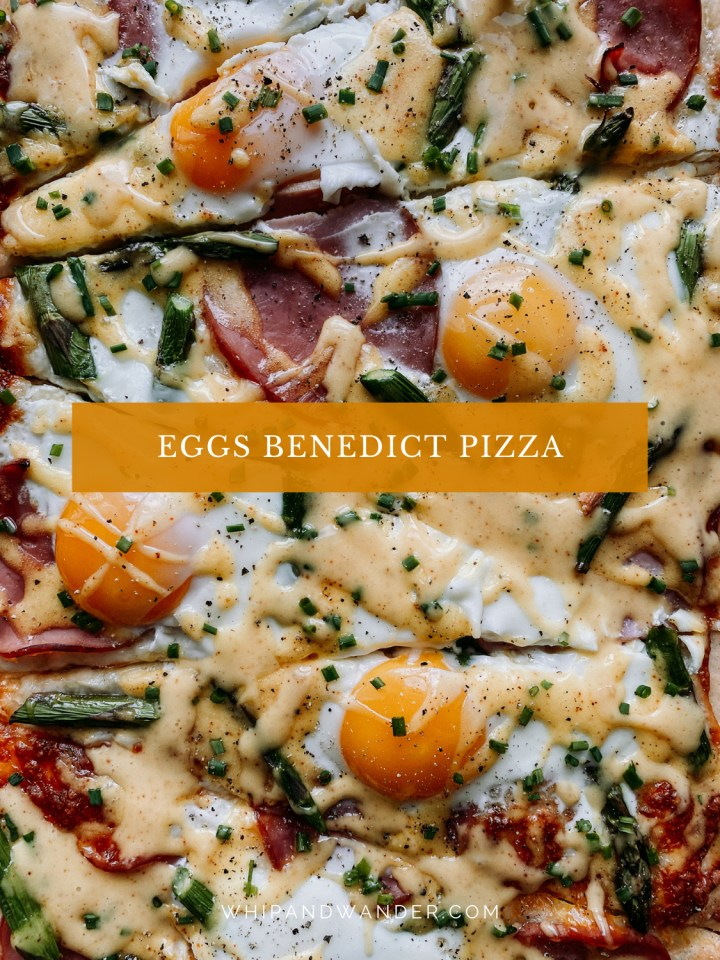 closeup of eggs and canadian bacon and asparagus on a pizza