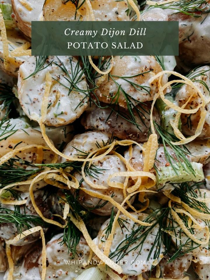 lemon peel and celery dotting an herbaceous potato salad