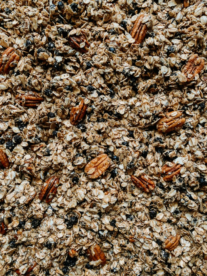 a closeup shot of unbaked granola with dried blueberries
