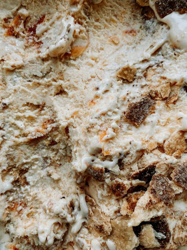 closeup of the texture of buttermilk peach pie ice cream
