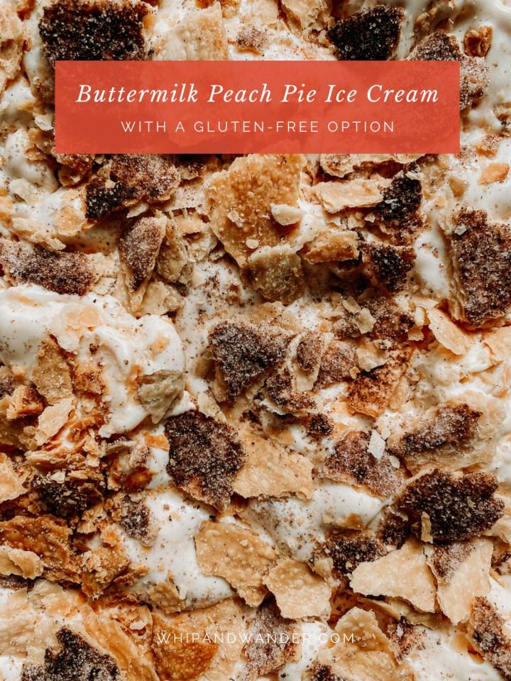 Buttermilk Peach Pie Ice Cream with chunks of cinnamon sugar pie crust dotted within
