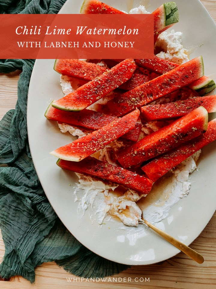 a gold spoon resting on a plate of Chili Lime Watermelon with Labneh and Honey