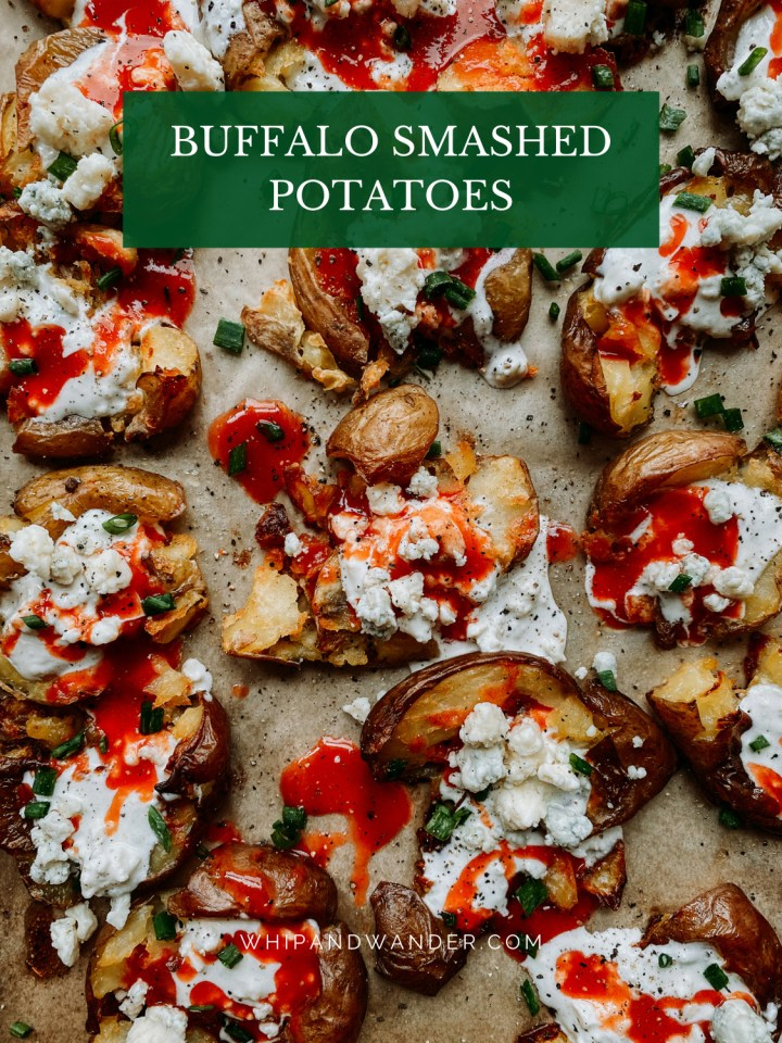 Buffalo Smashed Potatoes topped with chives and blue cheese