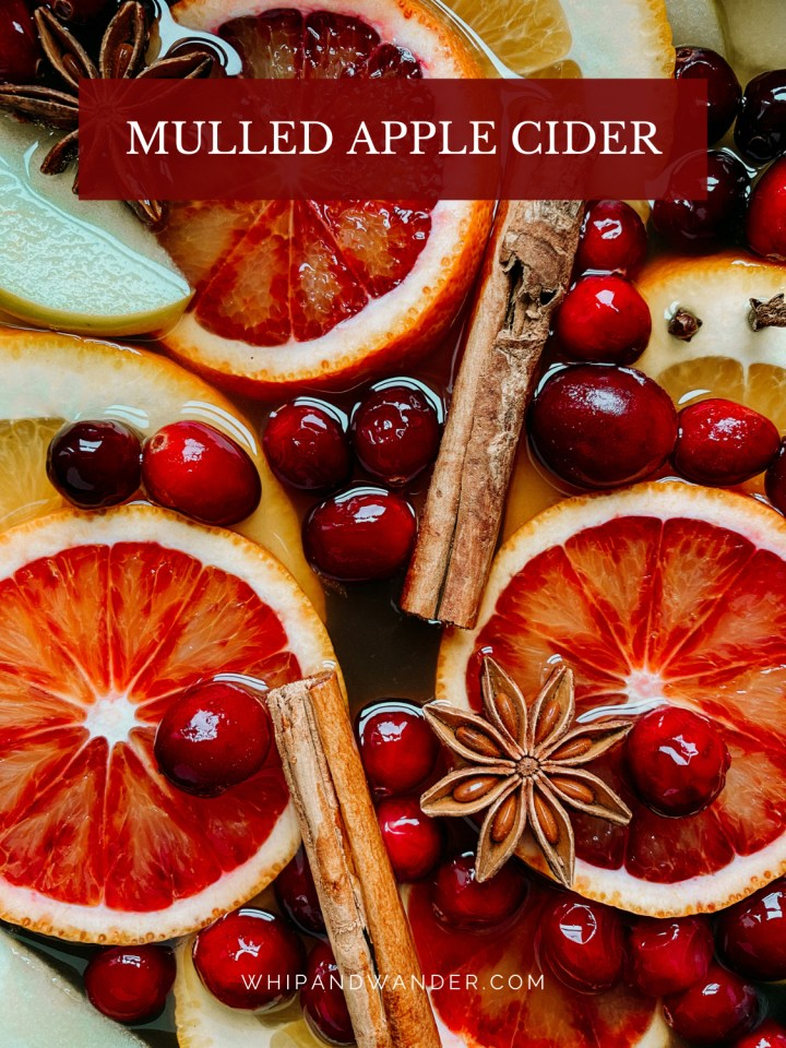 apple cider with mulling spices, blood oranges, and apples