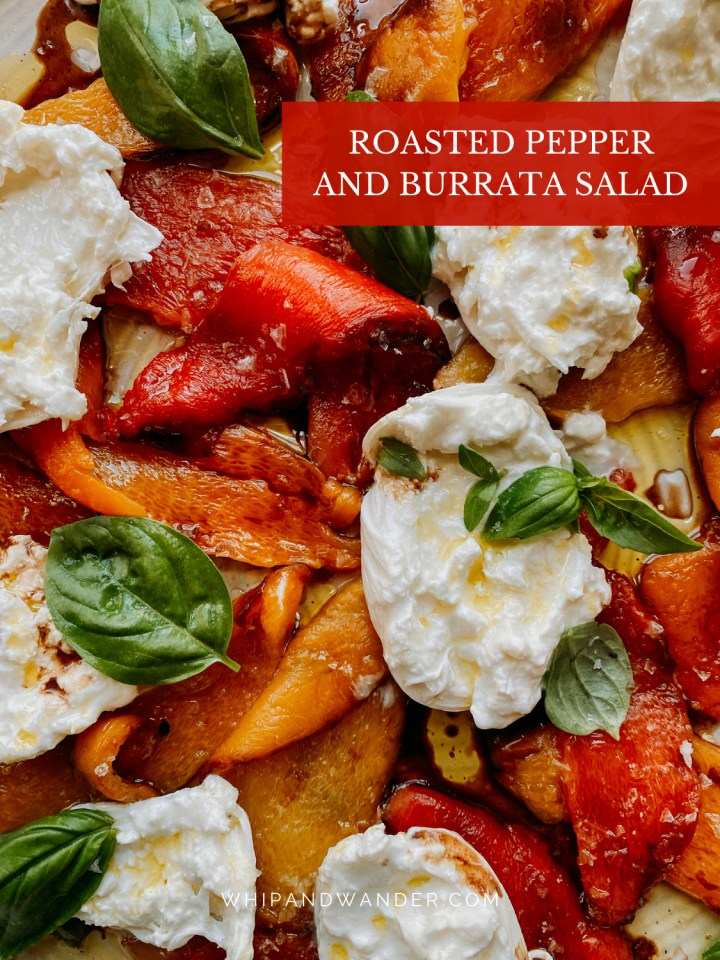 a combination of burrata cheese with bell peppers, basil, oil, and viengar