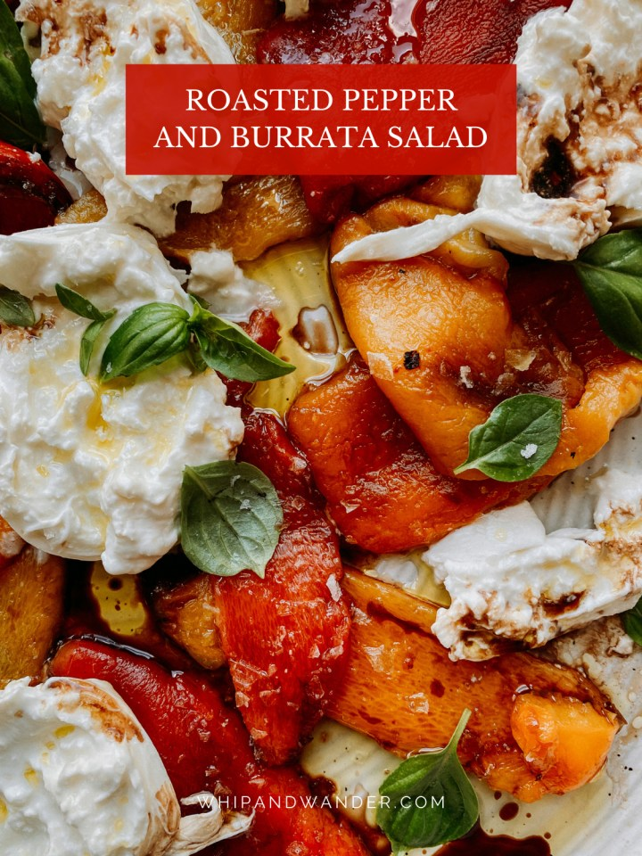 a mixture of roasted red and orange peppers, burrata cheese, oil, and vinegar on a white plate