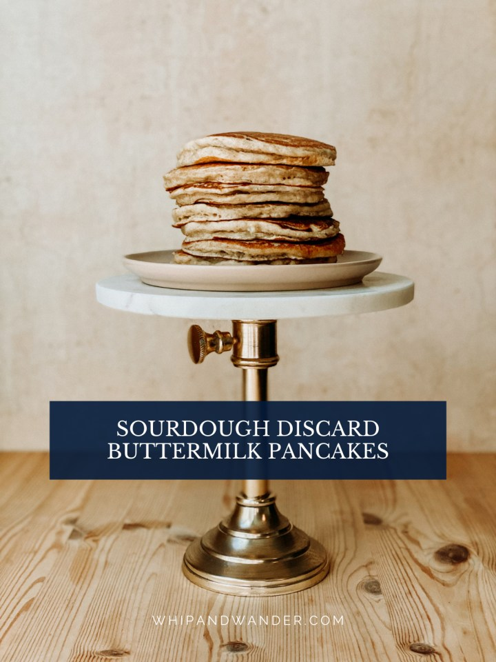 a stack of sourdough discard buttermilk pancakes on a cake stand