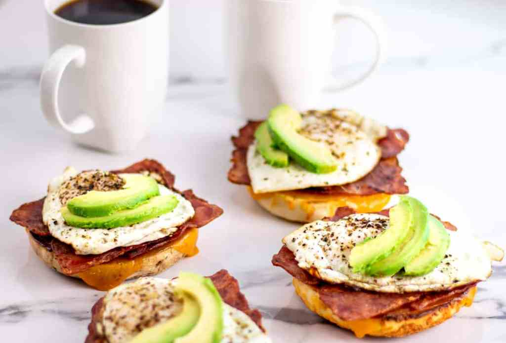 avocado breakfast bagels served with two coffee's