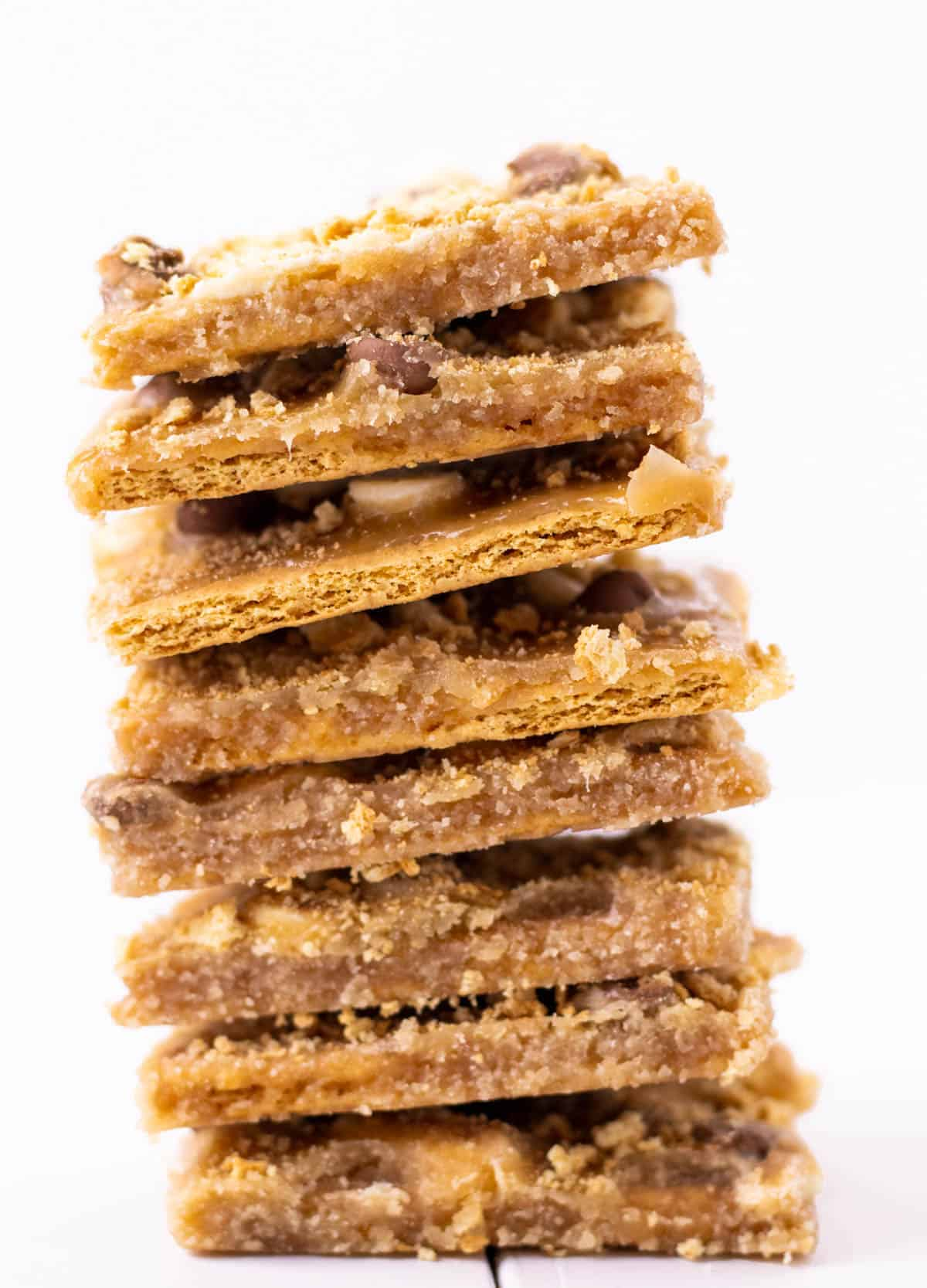 a stack of christmas crack cookies