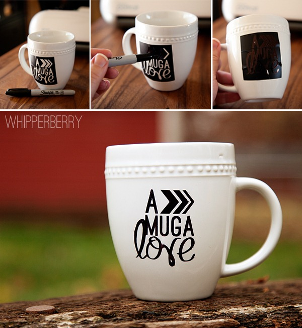 Using a stencil to create a fun graphic on a mug with a Sharpie