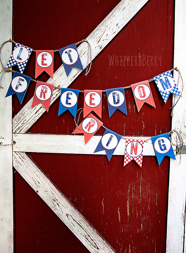 Let Freedom Ring Banner from WhipperBerry via Mandy's Party Printables