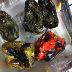 Roasted peppers left to steam in a plastic container