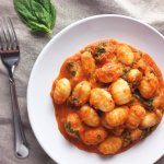 Gnocchi with sweet onion tomato sauce