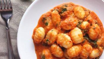 Gnocchi with sweet onion tomato sauce