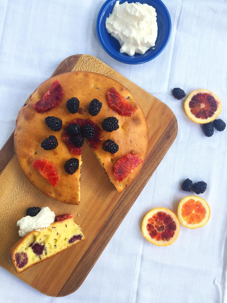 Blackberry Blood Orange Breakfast Cake with Blood Orange Whipped Cream and Fruit
