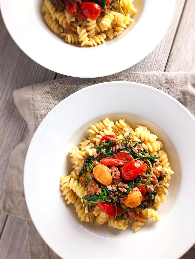 Cheesy Fusilli with Tomatoes and Sausage