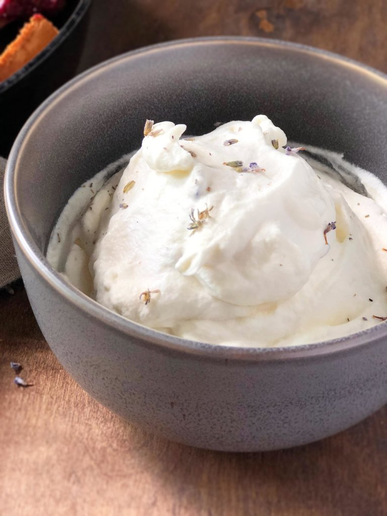 Lavender whipped cream in a bowl