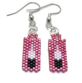 SHINY PINK FEATHER EARRINGS