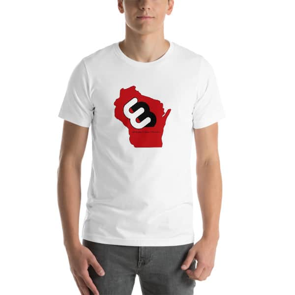 White Wisconsin T-shirt Front with Red Wisconsin State and Whirly Board Logo